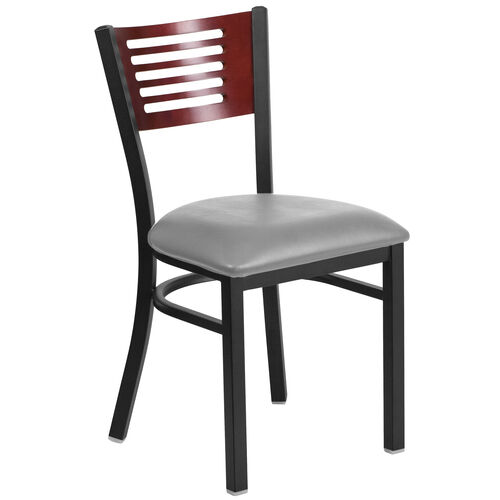 Our Black Decorative Slat Back Metal Restaurant Chair with Mahogany Wood Back & Custom Upholstered Seat is on sale now.