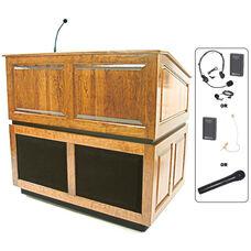 Ambassador Wireless 150 Watt Sound and Hand Held Mic Multimedia Lectern - Maple Finish - 30