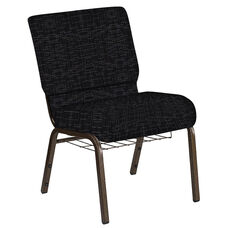Embroidered 21''W Church Chair in Amaze Ebony Fabric with Book Rack - Gold Vein Frame