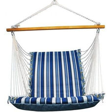 Soft Comfort Cushion Soft Polyester Hanging Hammock Rope Chair - Tropical Palm Stripe Blue