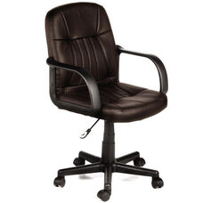 Leather Mid-Back Chair - Brown