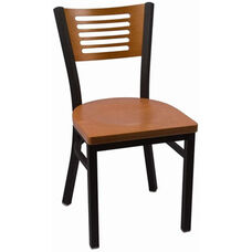 Jones River Series Wood Back Armless Chair with Steel Frame and Wood Seat - Cherry