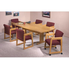 Contemporary Series Wood Conference Table with Curved Ends and Trestle Base