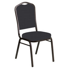 Embroidered Crown Back Banquet Chair in Illusion Chic Silver Fabric - Gold Vein Frame