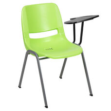 Green Ergonomic Shell Chair with Left Handed Flip-Up Tablet Arm