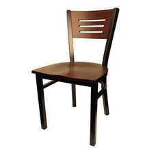 Mahogany Wood Back Metal Chair with 3 Slats in Back