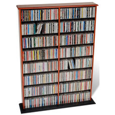 Double Width Wall Storage with 14 Adjustable Shelves - Cherry & Black