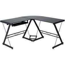 OneSpace Ultramodern Glass L-Shape Desk - Black and Smoke