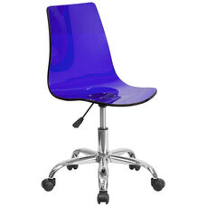 Contemporary Transparent Blue Acrylic Swivel Task Chair with Chrome Base