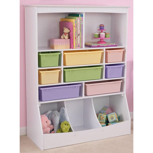 Our Kids Thirteen Storage Bins Wall Unit in White with Eight Pastel Color Plastic Bins is on sale now.