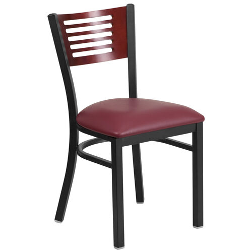 Our Black Decorative Slat Back Metal Restaurant Chair with Mahogany Wood Back & Burgundy Vinyl Seat is on sale now.
