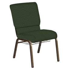 Embroidered 18.5''W Church Chair in Fiji Emerald Fabric with Book Rack - Gold Vein Frame
