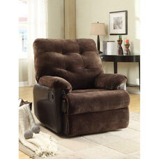 Layce Transitional Style Champion Fabric Recliner with Hand Latch - Chocolate