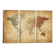Map of The World III by Michael Tompsett Oversized Gallery Wrapped Canvas Artwork - 60