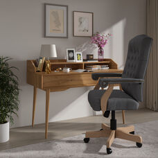 Gray Fabric Classic Executive Swivel Office Chair with Driftwood Arms and Base