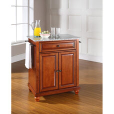 Solid Granite Top Portable Kitchen Island with Cambridge Feet - Classic Cherry Finish