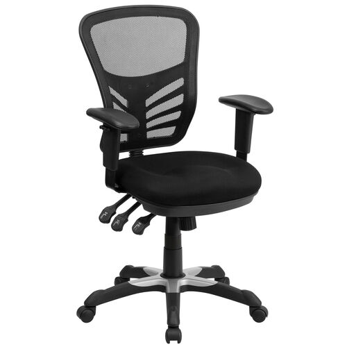 Our Mid-Back Black Mesh Multifunction Executive Swivel Ergonomic Office Chair with Adjustable Arms is on sale now.