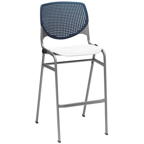 Our 2300 KOOL Series Stacking Poly Armless Barstool with Navy Perforated Back and White Seat is on sale now.