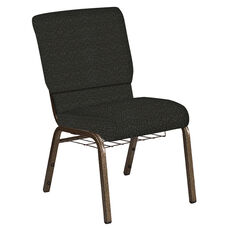 18.5''W Church Chair in Cobblestone Pewter Fabric with Book Rack - Gold Vein Frame