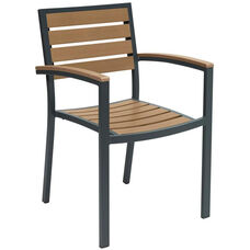 Eveleen Aluminum Outdoor Arm Chair with Polymer Seat and Back - Mocha