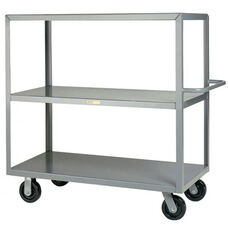 Welded Truck with Push Handle and 3 Flush Shelves