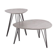 Bannock Mid Century Modern Industrial 2 Piece Accent Table Set with Black Hairpin Metal Legs - Matte Gray