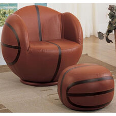 All Star 2 Piece 360° Swivel Basketball Youth Chair and Ottoman