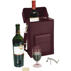 Connoisseur Wine Carrier with Stainless Steel Corkscrew - Sedona New Bonded Leather - Burgundy