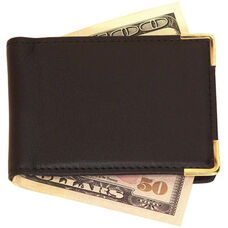 Large Magnetic Money Clip - Top Grain Nappa Leather with Suede Lining - Black