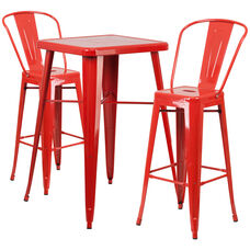 "Commercial Grade 23.75"" Square Red Metal Indoor-Outdoor Bar Table Set with 2 Stools with Backs"