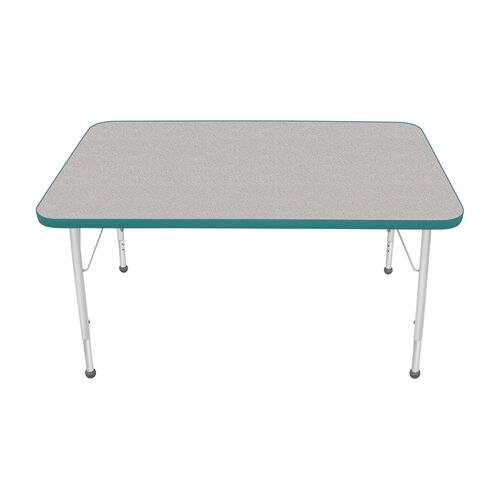Adjustable Standard Height Laminate Top Rectangular Activity Table - Nebula Top with Teal Edge and Legs - 48