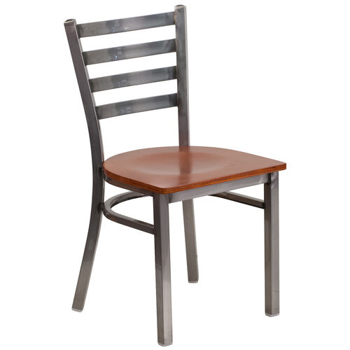 Our Clear Coated Ladder Back Metal Restaurant Chair with Cherry Wood Seat is on sale now.