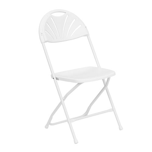 Our HERCULES Series 650 lb. Capacity White Plastic Fan Back Folding Chair is on sale now.