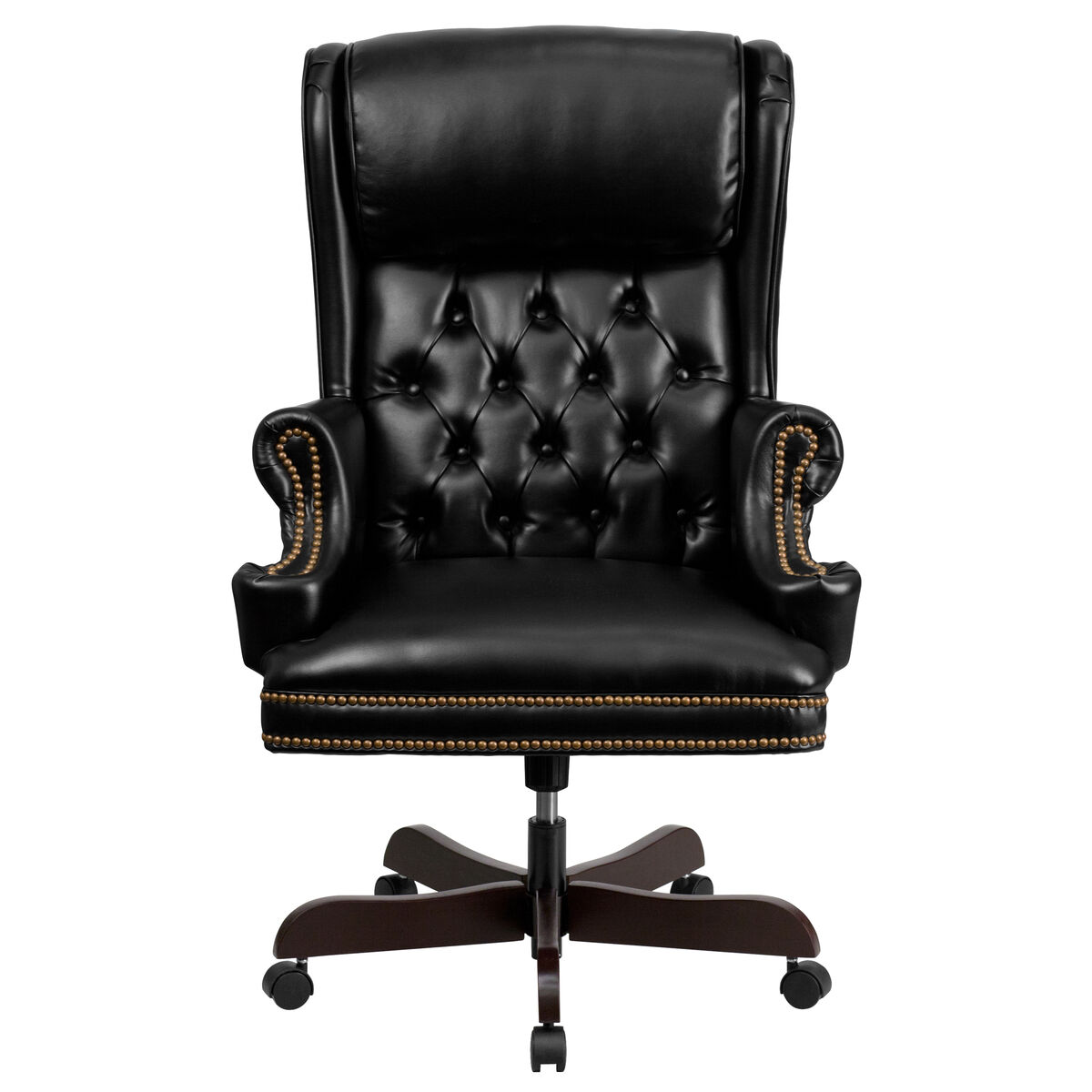 Excellent High Back Traditional Tufted Black Leather Executive Ergonomic Office Chair With Oversized Headrest Nail Trim Arms Spiritservingveterans Wood Chair Design Ideas Spiritservingveteransorg