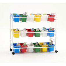 Leveled Reading Book Browser Cart with 18 Tubs Small Open Storage Tubs
