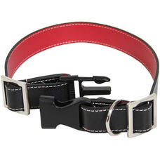 Collar for Small to Medium Dogs - Genuine Leather - Black and Red
