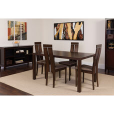 Clarke 5 Piece Espresso Wood Dining Table Set with Clean Line Wood Dining Chairs - Padded Seats