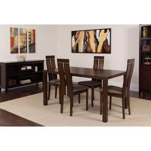 Our Clarke 5 Piece Espresso Wood Dining Table Set with Clean Line Wood Dining Chairs - Padded Seats is on sale now.