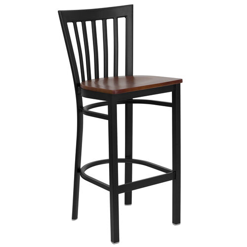 Our Black School House Back Metal Restaurant Barstool with Cherry Wood Seat is on sale now.