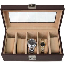 Deluxe 5 Watch Box - Top Grain Nappa Leather - Coco