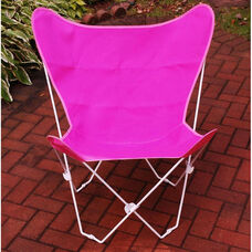 Folding Butterfly Chair with White Steel Frame and Cotton Cover - Pink