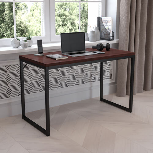 "Tiverton Industrial Modern Desk - Commercial Grade Office Computer Desk and Home Office Desk - 47"" Long (Mahogany/Black)"