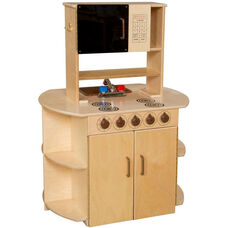 All-In-One Wooden Kitchen Center with Brown Accents - 32