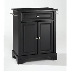 Solid Black Granite Top Portable Kitchen Island with Lafayette Feet - Black Finish