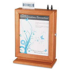 Safco® Customizable Wood Suggestion Box - 10 1/2 x 5 3/4 x 14 1/2 - Cherry