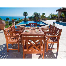 Malibu Outdoor 7 Piece Wood Patio Dining  Set with Table and 6 Herringbone Back Armchairs