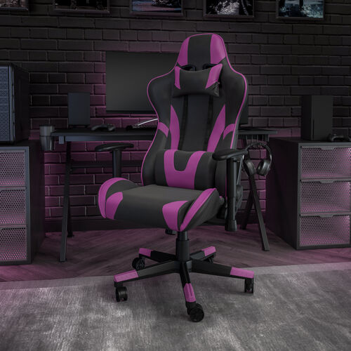 BlackArc X20 Gaming Chair Racing Office Ergonomic Computer PC Adjustable Swivel Chair with Fully Reclining Back in Purple LeatherSoft