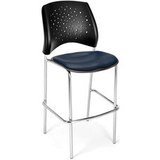 Stars Cafe Height Vinyl Seat Chair with Chrome Frame - Navy