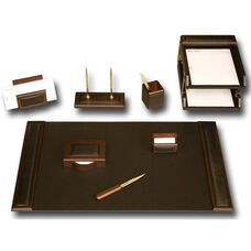 Wood and Leather 10 Piece Desk Set - Walnut and Black