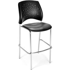 Stars Cafe Height Vinyl Seat Chair with Chrome Frame - Charcoal